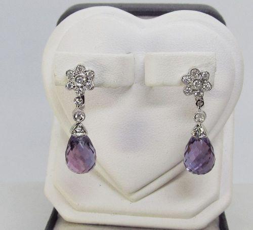 Diamond Earrings with Briolette Cut Amethysts