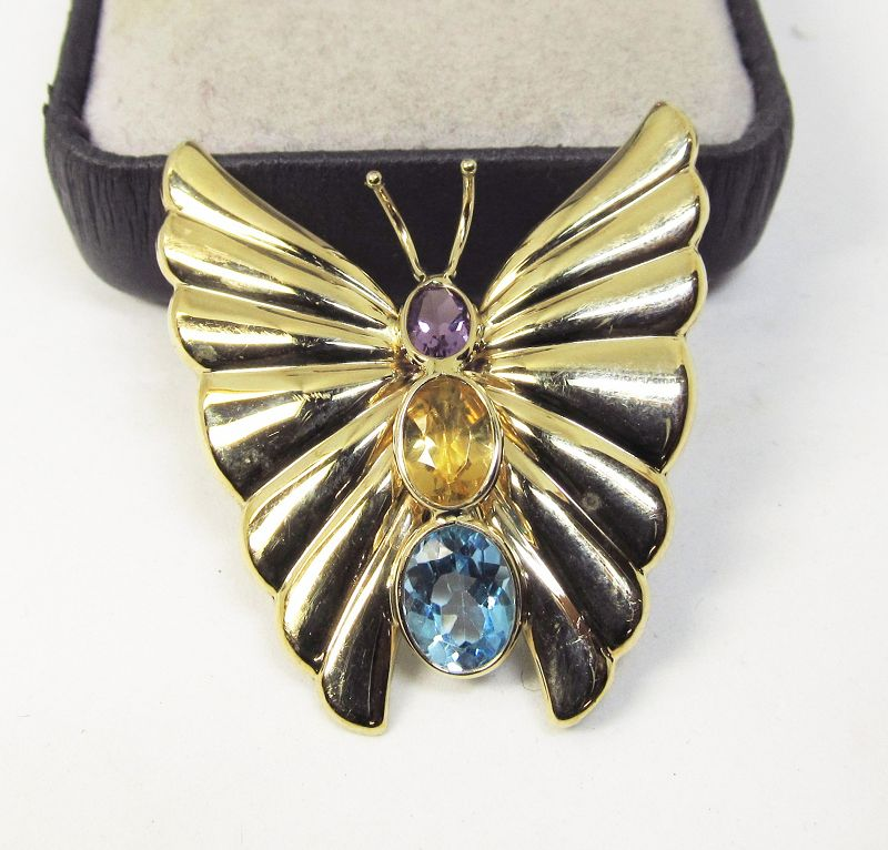 14Kt Gold Butterfly Broach with Amethyst, Citrine and Blue Topaz