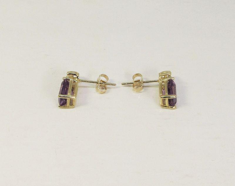 Amethyst and Diamond Earrings 14Kt Gold