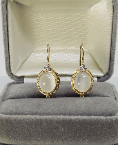 Moonstone and Diamond Earrings 14Kt Gold