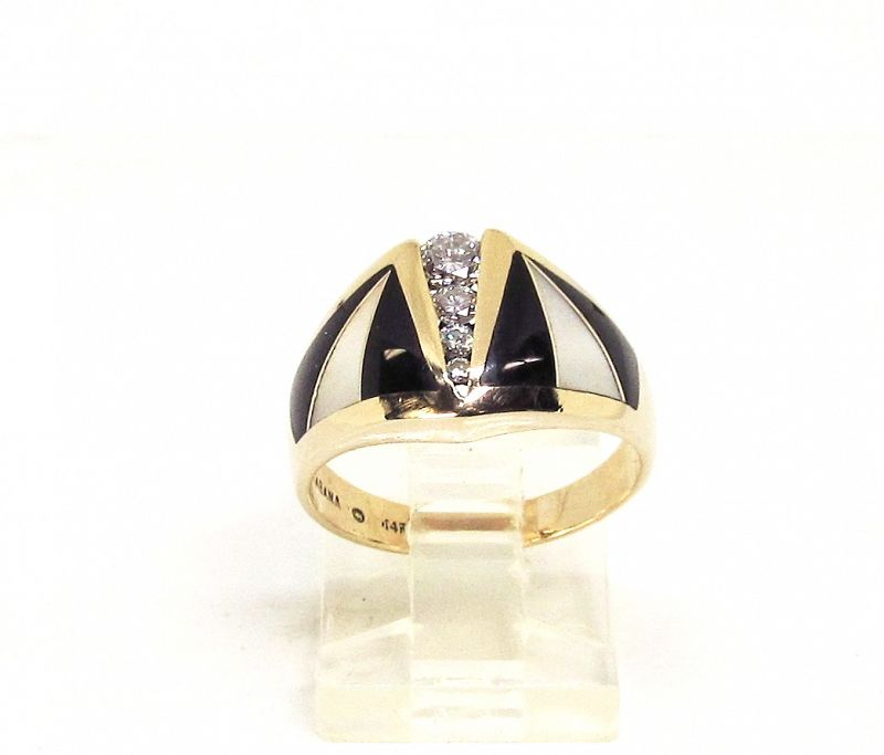 Deco Style Ring Diamond, Onyx, Mother of Pearl, 14Kt Gold