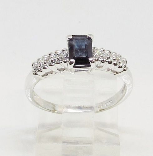 Sapphire and Diamond Ring, Emerald Cut 14Kt White Gold
