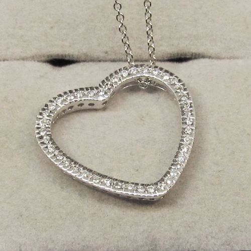 Diamond Heart Necklace 14Kt White Gold