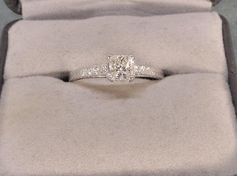 Diamond Engagement Ring Set in Platinum Vintage Antique
