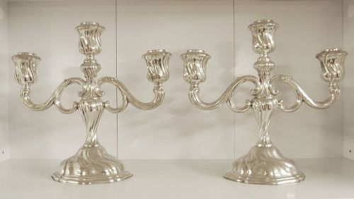 Sterling Silver Triple Candle Holders circa 1920 German