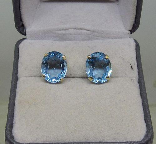 Blue Topaz Earrings 14Kt Yellow Gold