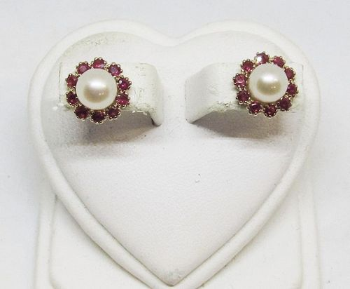 Ruby and Cultured Pearl Earrings 14Kt Gold