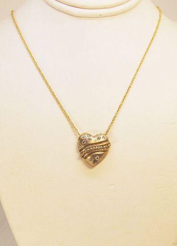 Diamond Heart necklace 14Kt Yellow Gold