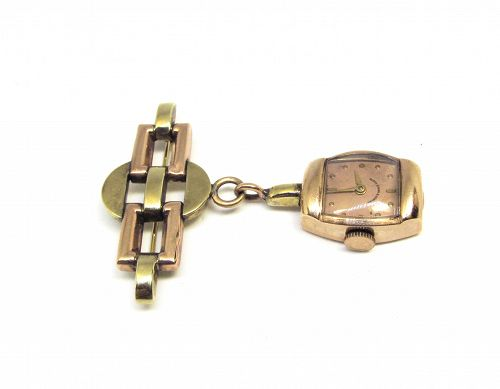 14Kt Two Tone Retro Lapel Watch Pin