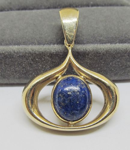 Modern 14Kt Gold and Lapis Pendant
