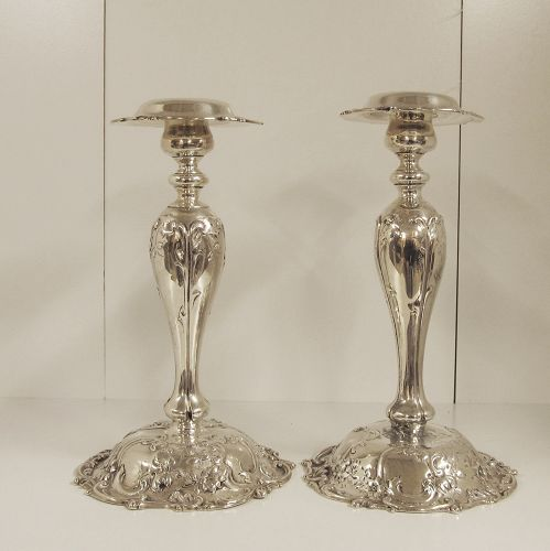 Sterling Silver Pair of Candlesticks by MAUSER Rare