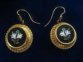 14 Kt Victorian Etruscan Pietre Dure Earrings