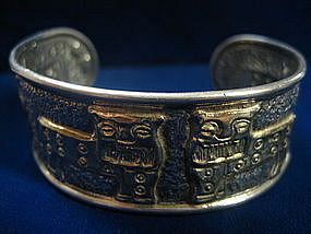 Silver and Gold 1960's Cuff Bracelet