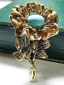 Tiffany & Co. Flower Pin in 18 Kt Gold and Turquoise