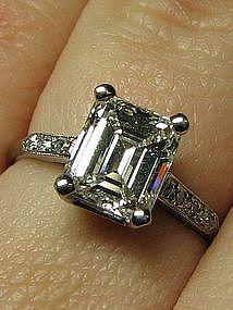 Emerald Cut Diamond and Platinum Engagement Ring