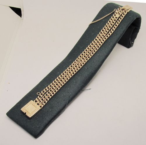 14 Kt Gold Victorian Chain Bracelet with Engraved Clasp
