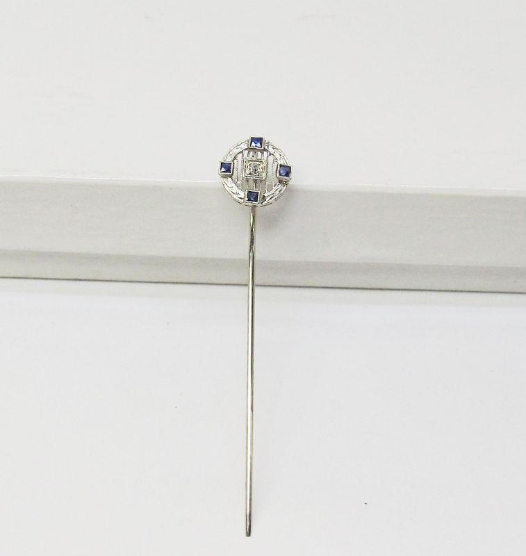 14 Kt Gold Filigree Sapphire and Diamond Stickpin