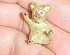 14Kt Yellow Gold Teddy Bear Broach with Ruby Eyes