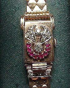 14 Karat Pink Gold Retro Watch with Rubies, Diamonds