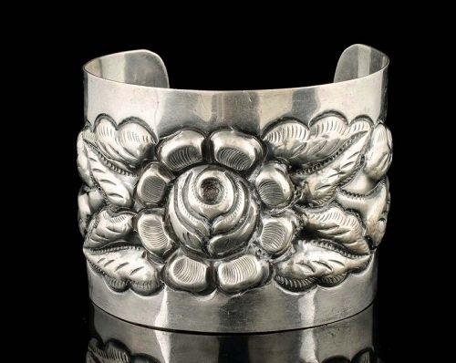 Tobias Mexican Deco silver repousse Cuff Bracelet Aztec Rose