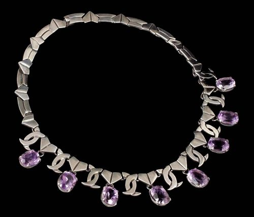 Los Ballesteros Mexican silver Necklace with faceted amethyst gems
