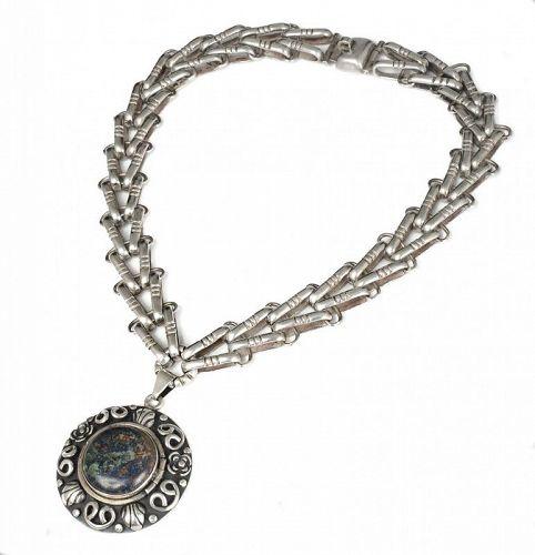 Taxco 980 Aguilar design 980 silver Locket Pendant Necklace