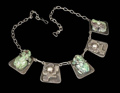 "rare Carmen Beckmann Mexican silver and stone ""frogs"" Necklace"