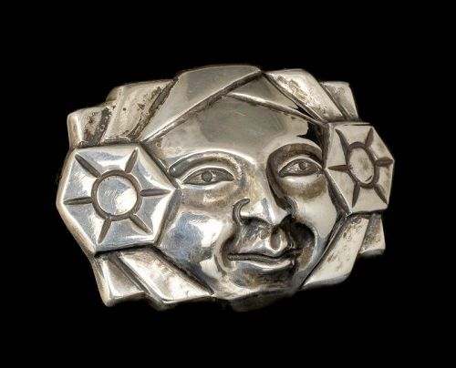 M Velazquez Mexican silver repousse Pin Brooch ~ man with flowers