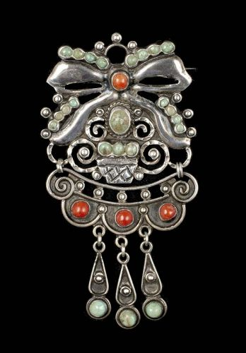 CEL Matl style Mexican silver stones Pin Brooch ~ flower basket w/ bow