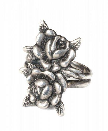 Margot de Taxco Mexican silver roses Ring ~ des. no 5194