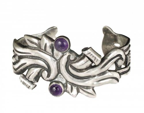 early Mexican Deco silver repousse Cuff Bracelet with amethyst