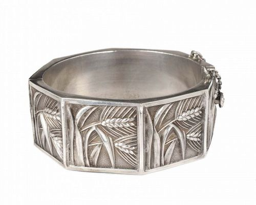 "Topazio Portugal 835 silver ""wheat"" hinged bangle Bracelet"
