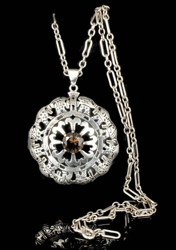 fab Mexican silver and citrine shadowbox Pendant Necklace