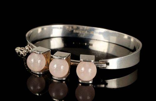 1972 Kultaseppa Salovvara Finland silver and rose quartz Bracelet