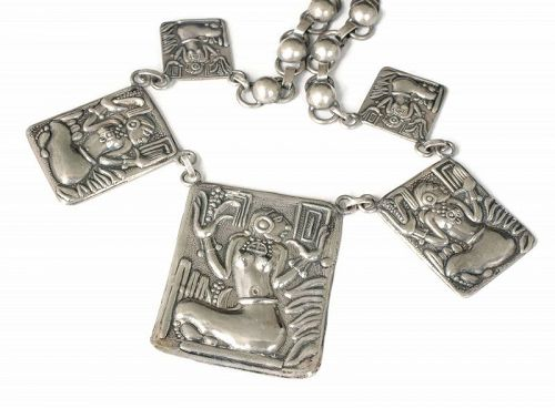 Mexican Deco neo-Aztec silver Necklace ~ Corn Goddess