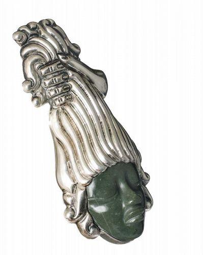 sculptural Mexican Deco silver stone Medusa head Pin Pendant