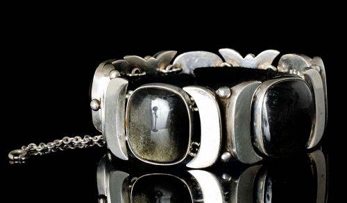 F Martinez Piedra y Plata Mexican silver obsidian Bracelet