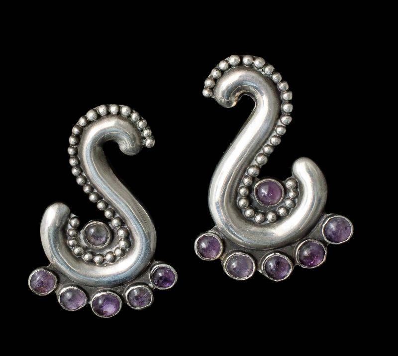 rare Ingrid's Mexican Deco silver amethyst Earrings
