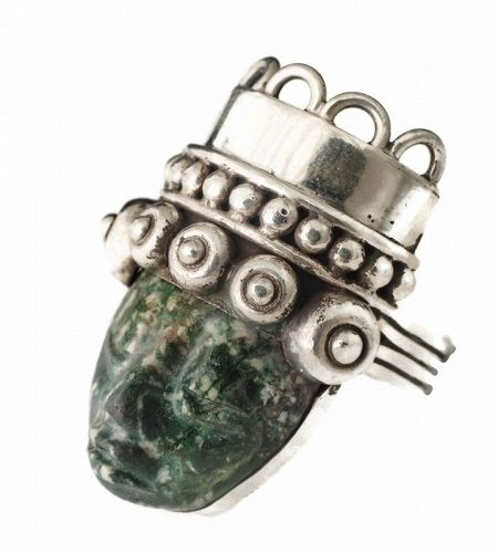 """Los Ballesteros Mexican silver and stone """"mask"""" Ring"""