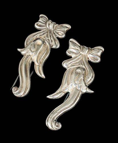 set of 2 Los Castillo Mexican Deco silver Fur Pins / Clips
