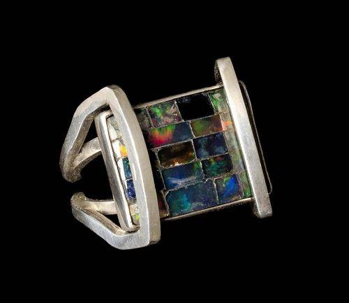 rare Carmen Beckmann Mexican silver black opal RIng