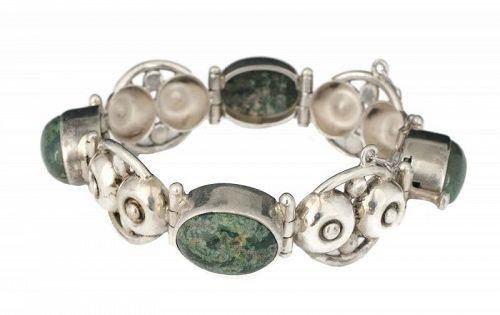 Los Ballesteros Mexican silver agate dimpled dot Bracelet