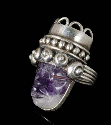 "massive Los Ballesteros Mexican silver amethyst ""mask"" Ring"