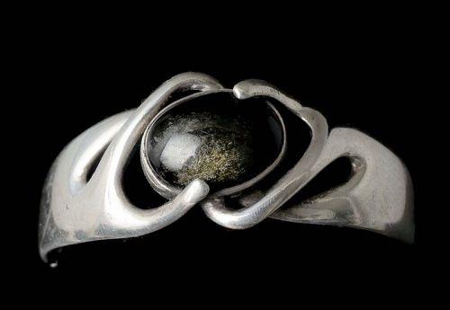 Sigi Pineda Mexican silver golden sheen obsidian Bracelet