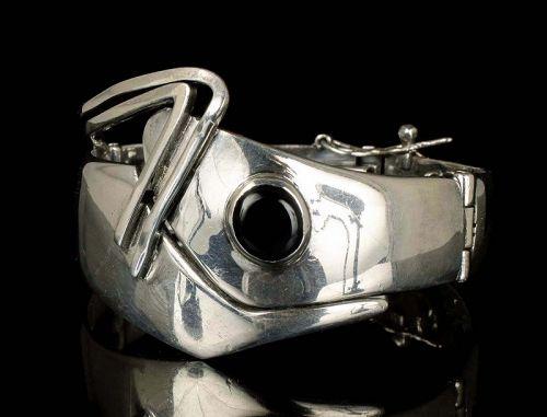Sigi Pineda Mexican silver black onyx mod hinged Bracelet