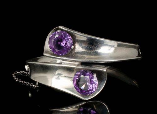 Enrique Ledesma Mexican silver sapphires modernist Bracelet