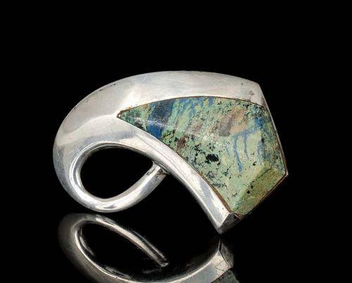 Enrique Ledesma Mexican silver azur-malachite modernist Pin Brooch