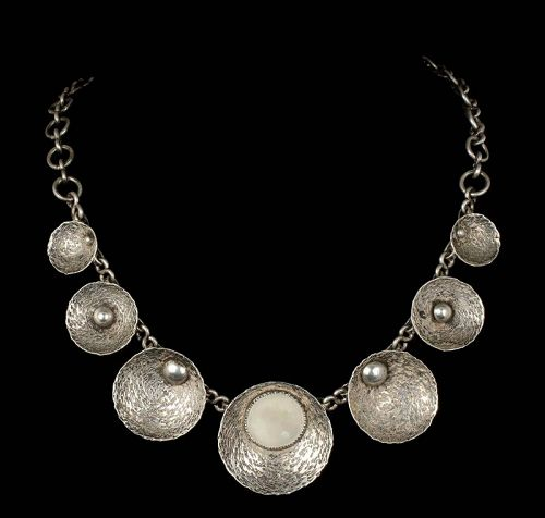 European / Finnish studio modernist silver mother-of-pearl Necklace