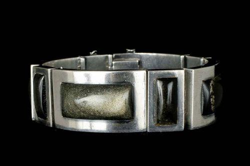 Felipe Martinez Piedra y Plata Mexican silver and obsidian Bracelet