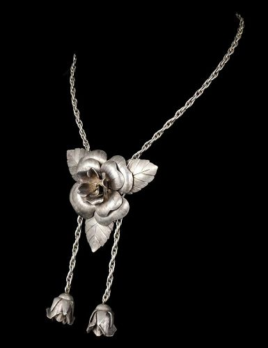 Mexican Deco silver roses Brooch / Lariat Necklace combo